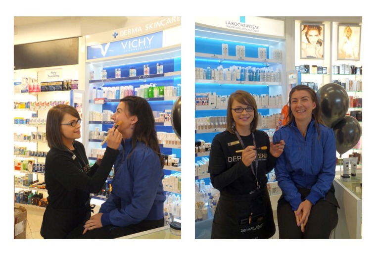 Sinead from our Poppyfields Clonmel store demoing Dermablend on a client at their recent Dermablend Event.