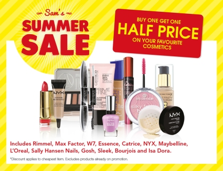 Sam McCauleys Summer Sale Buy One Get One Half Price Cosmetics