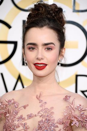 Lily Collins at the 74th Golden Globe Awards