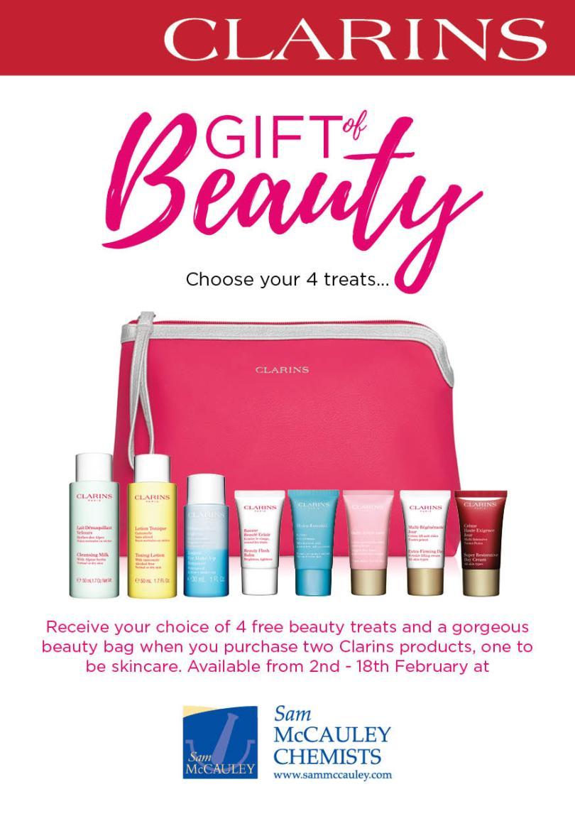 Clarins Gift of Beauty at Sam McCauleys