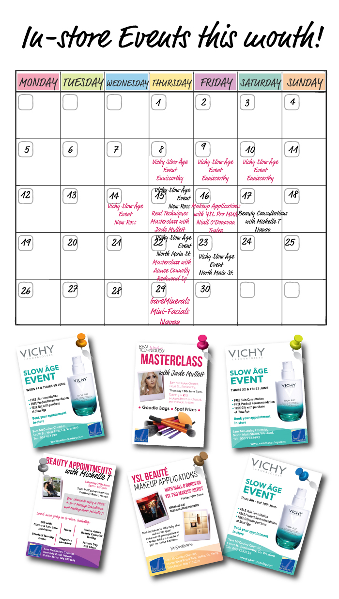 Events taking place in Sam McCauley stores this June