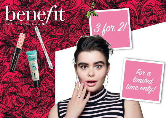 3 for 2 on Benefit at Sam McCauley Chemists!